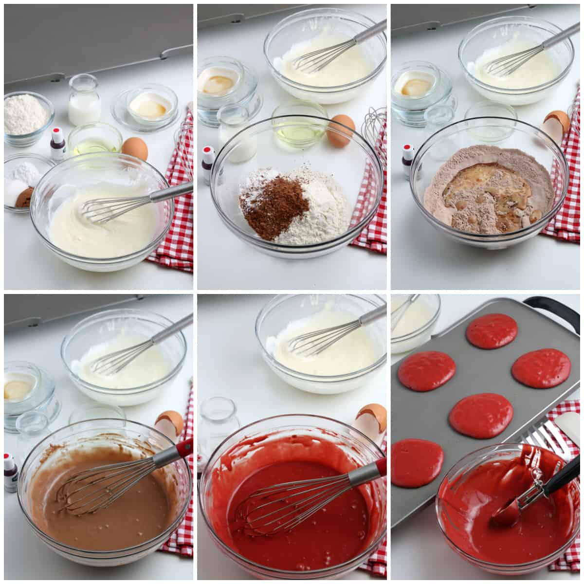 Step by step photo on how to make Red Velvet Pancakes