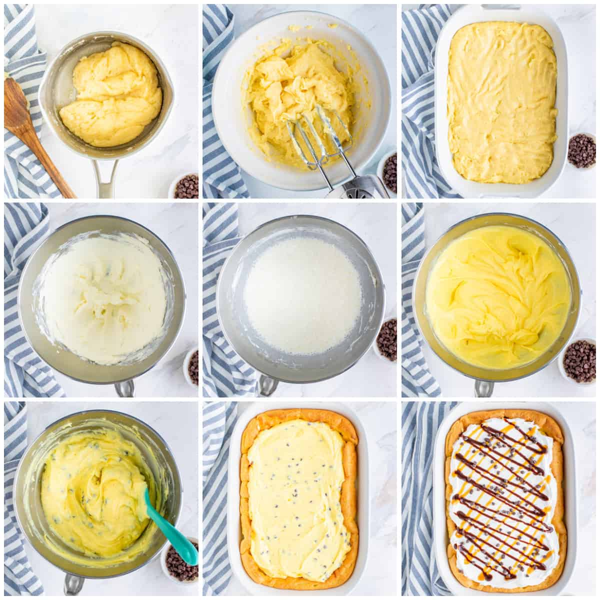 Step by step photos on how to make Cream Puff Cake