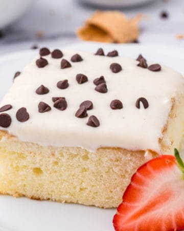 Close up of slice of cake on white plate square image