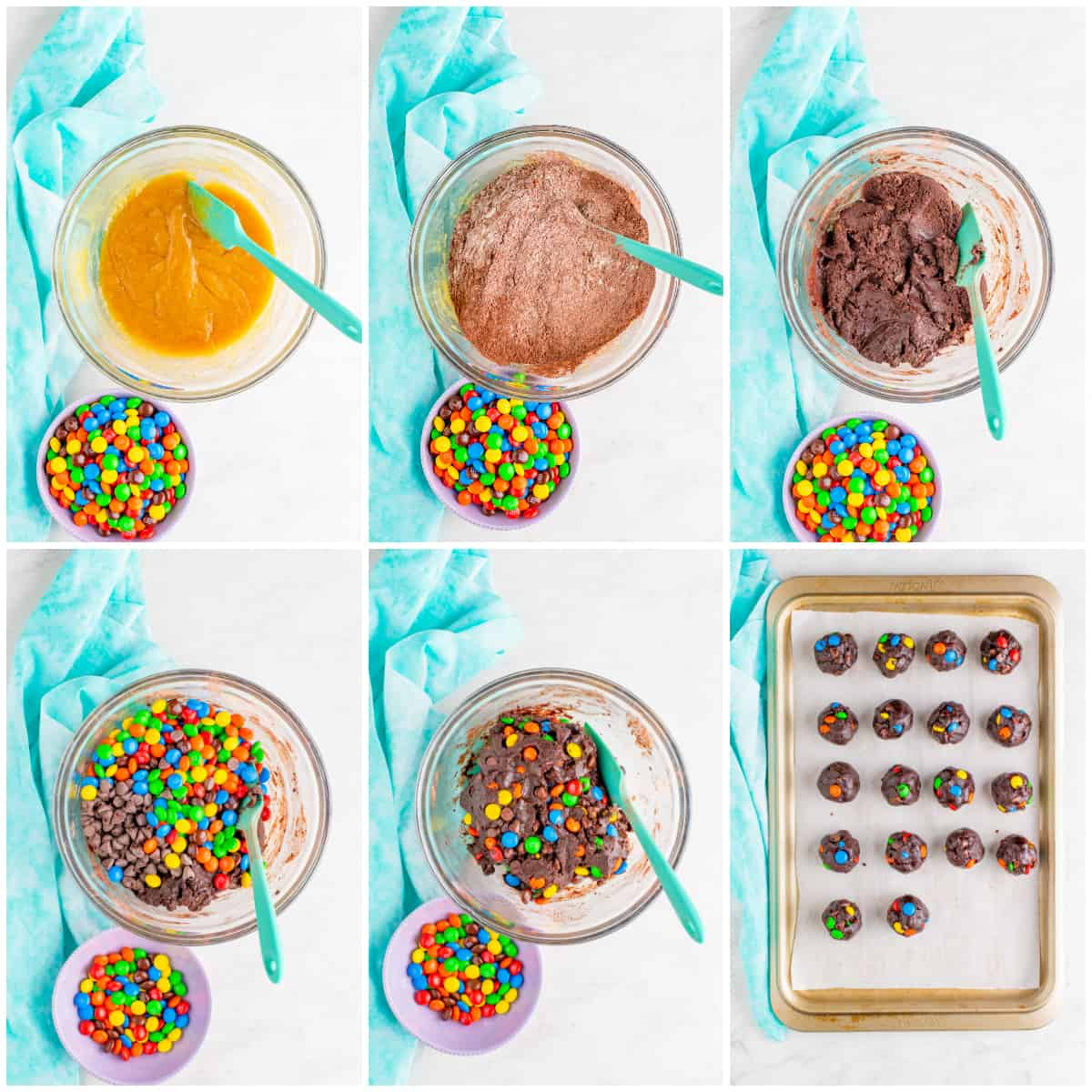 Step by step photos on how to make Chocolate M&M Cookies