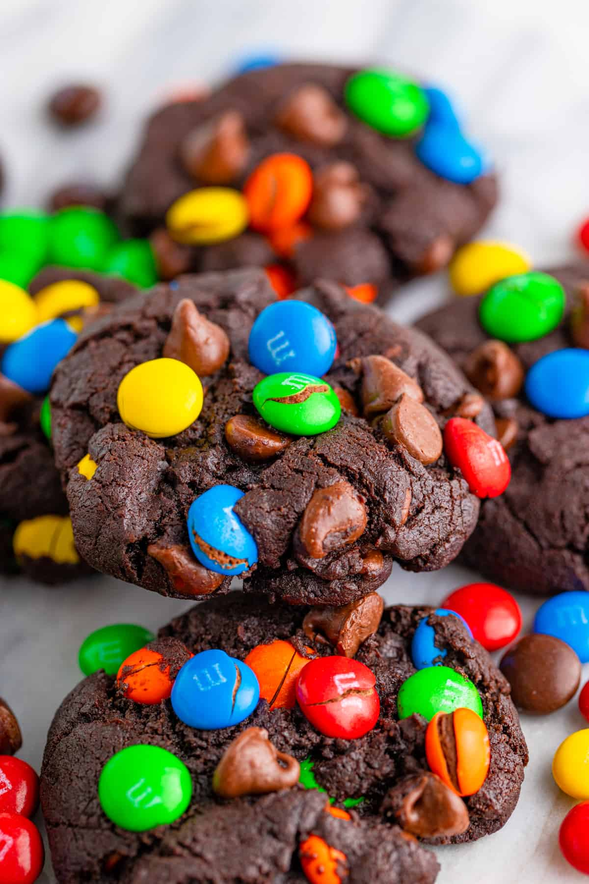 Close up of Chocolate M&M Cookies on turnstile