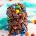 Stacked Chocolate M&M Cookies stacked square image