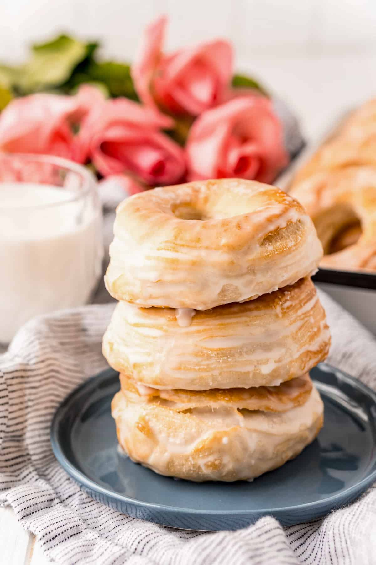 Three Stacked Air Fryer Donuts on plate