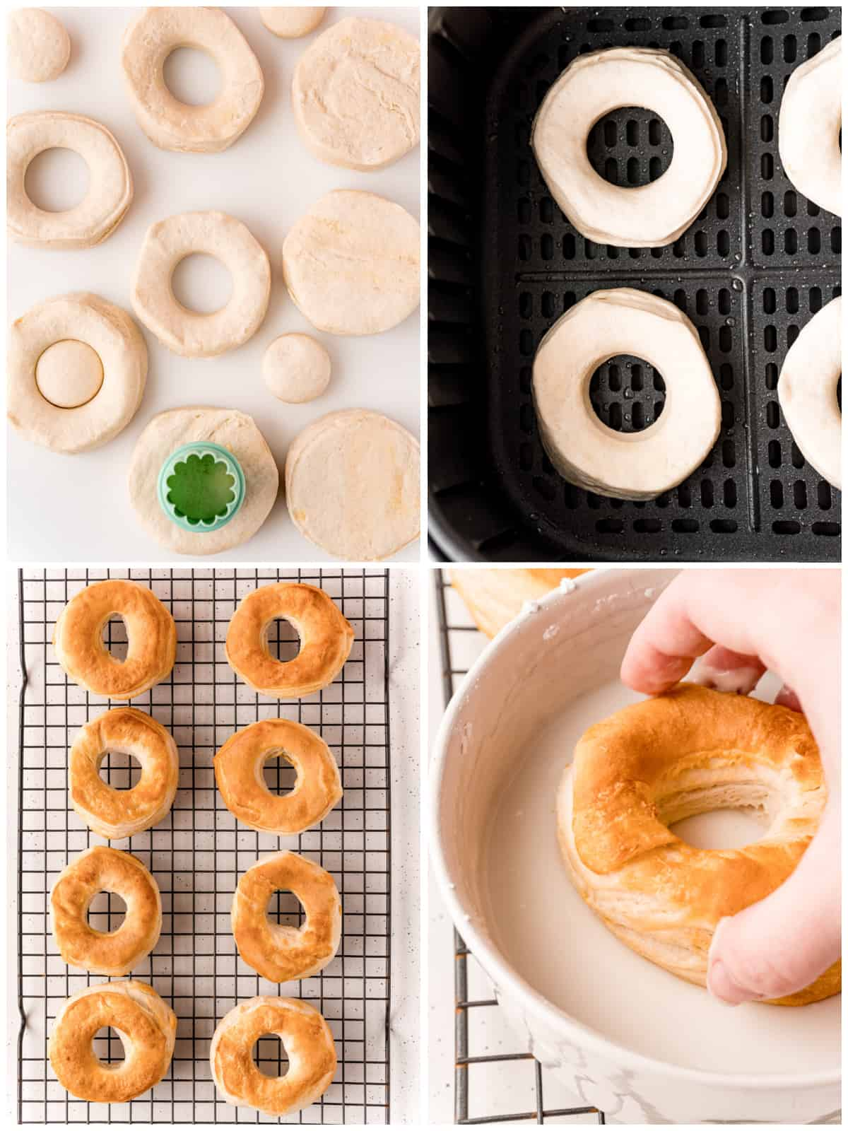 Step by step photos on how to make Air Fryer Donuts