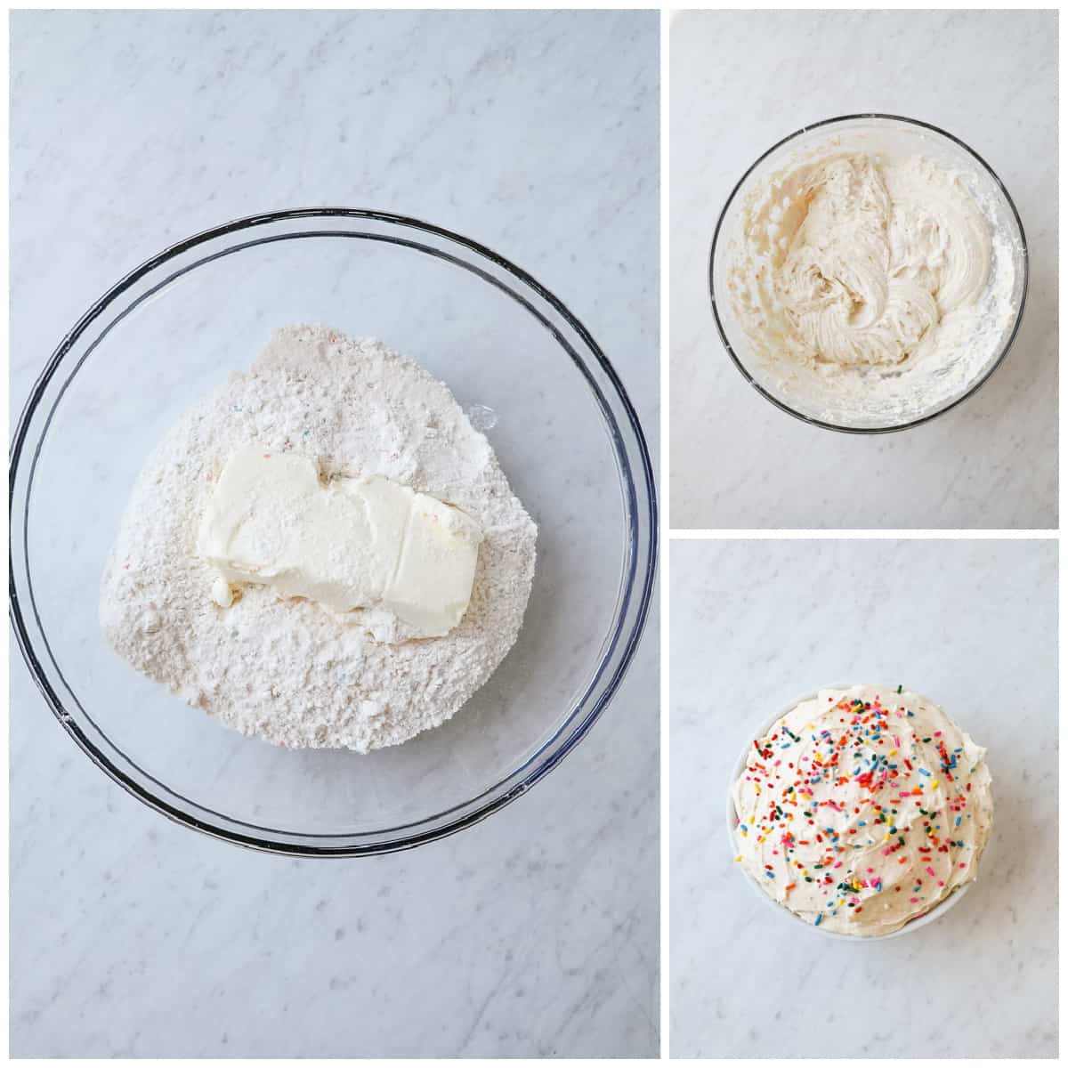 Step by step photos on how to make Funfetti Dip