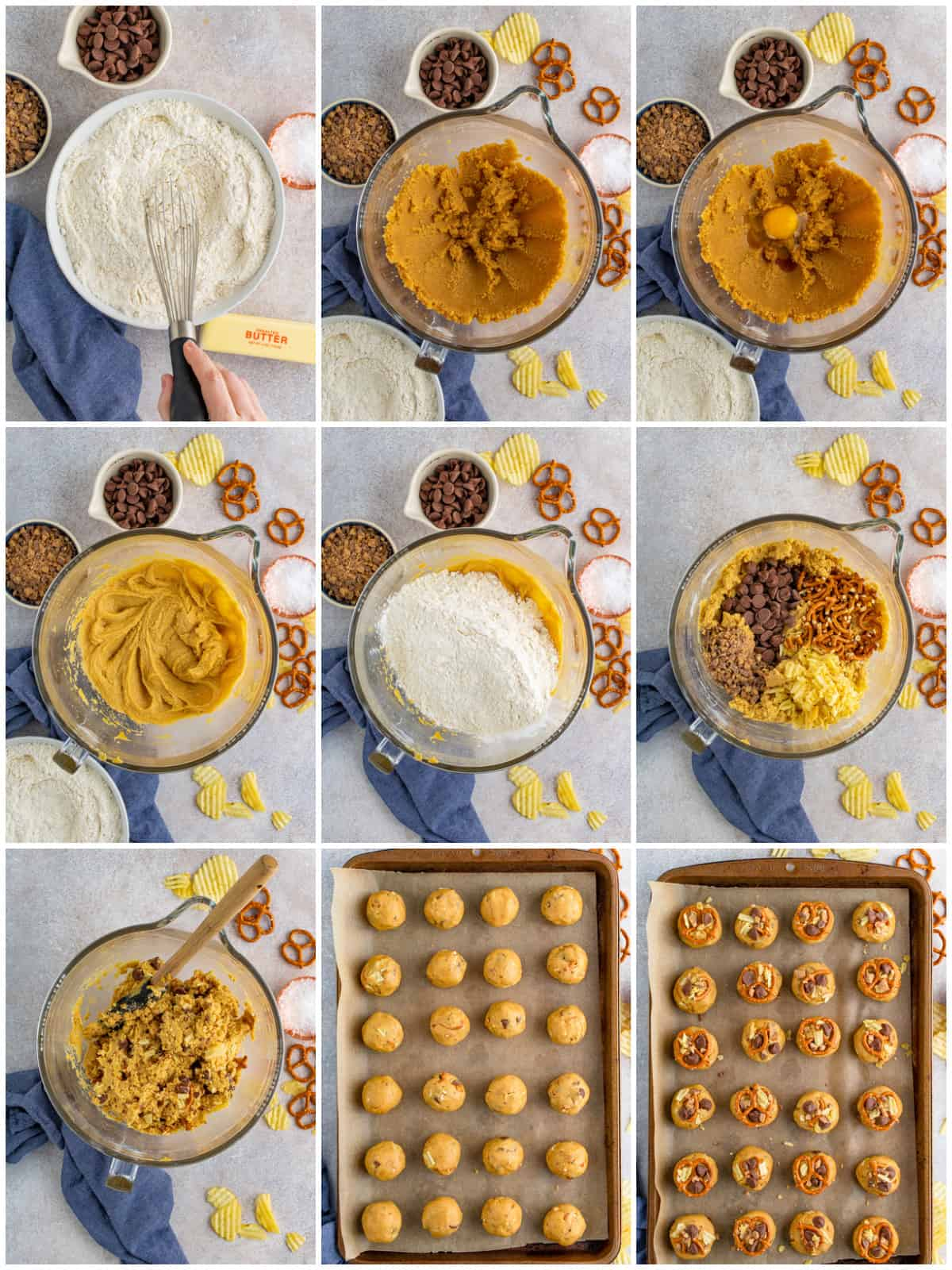 Step by step photos on how to make Kitchen Sink Cookies