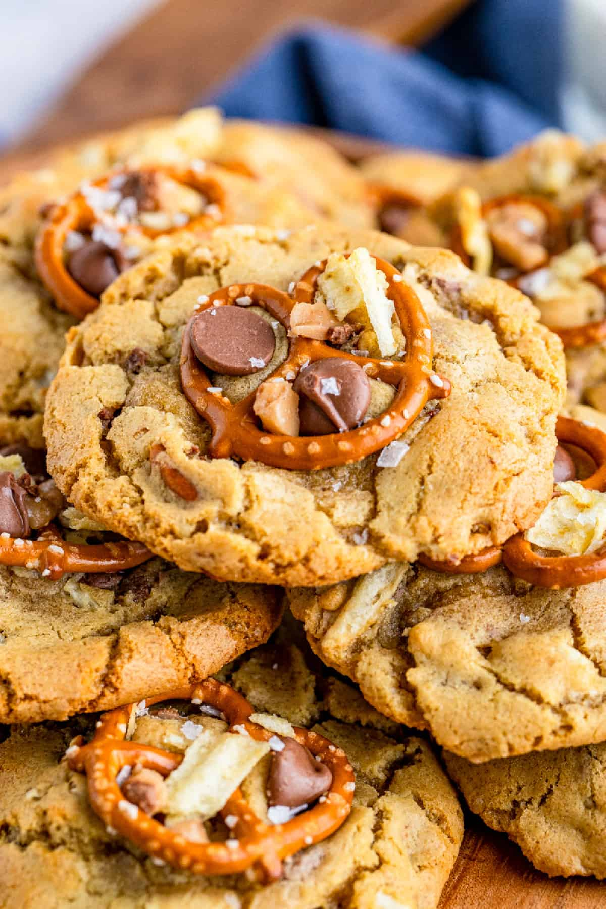 Close up of one cookie stacked on pile