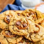 Kitchen Sink Cookie Recipe with stacked cookies pinterest image