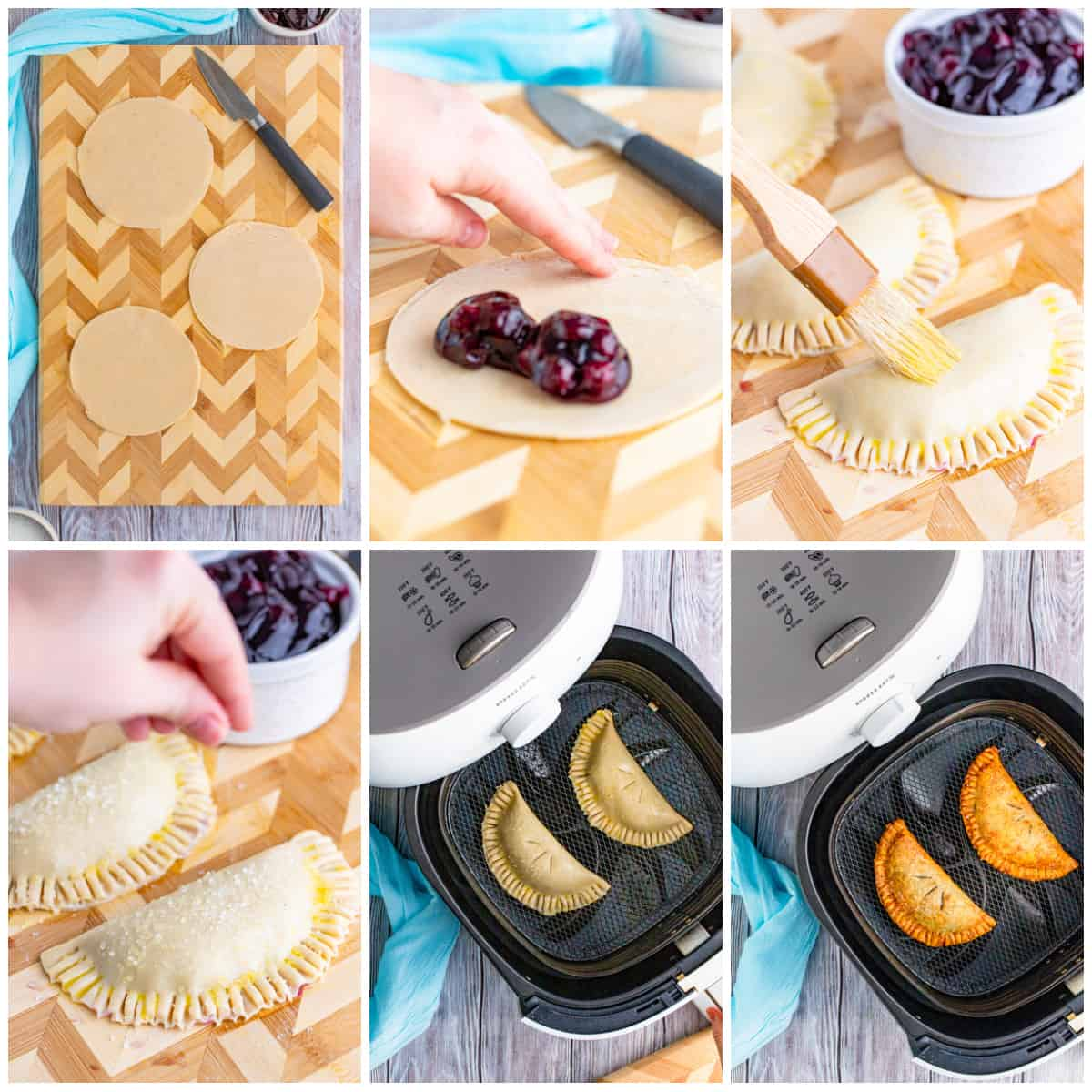 Step by step photos on how to make Air Fryer Blueberry Hand Pies