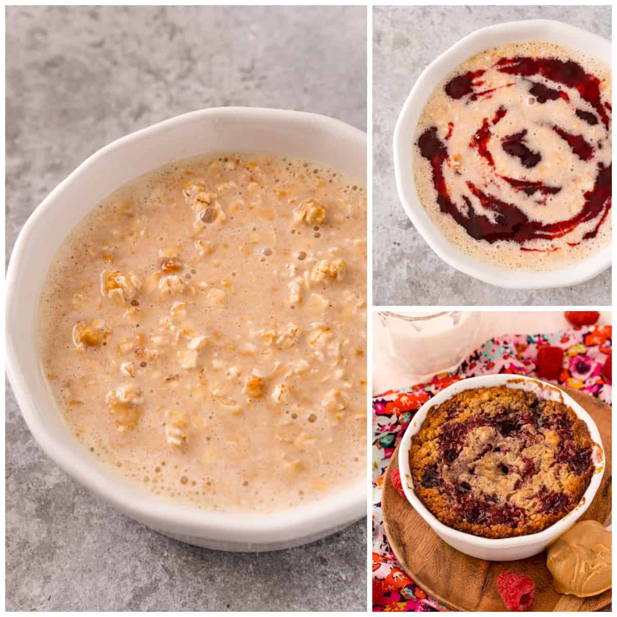 Step by step photos on how to make Peanut Butter & Jelly Baked Oats