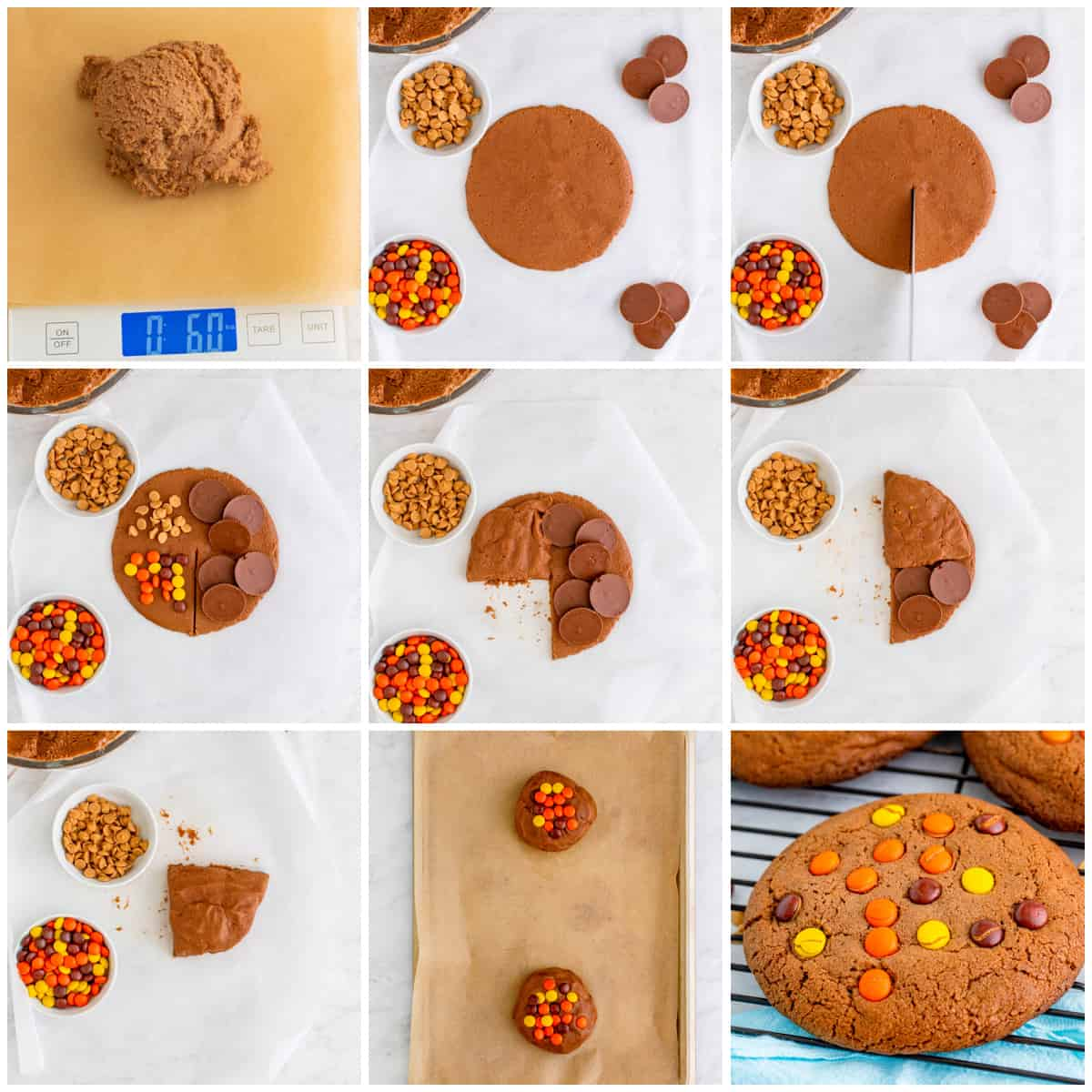 Step by step photos on photo to make a Reese's Cookie Wrap