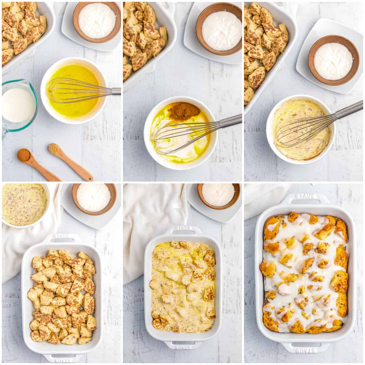 Step by step photos on how to make Cinnamon Roll Casserole