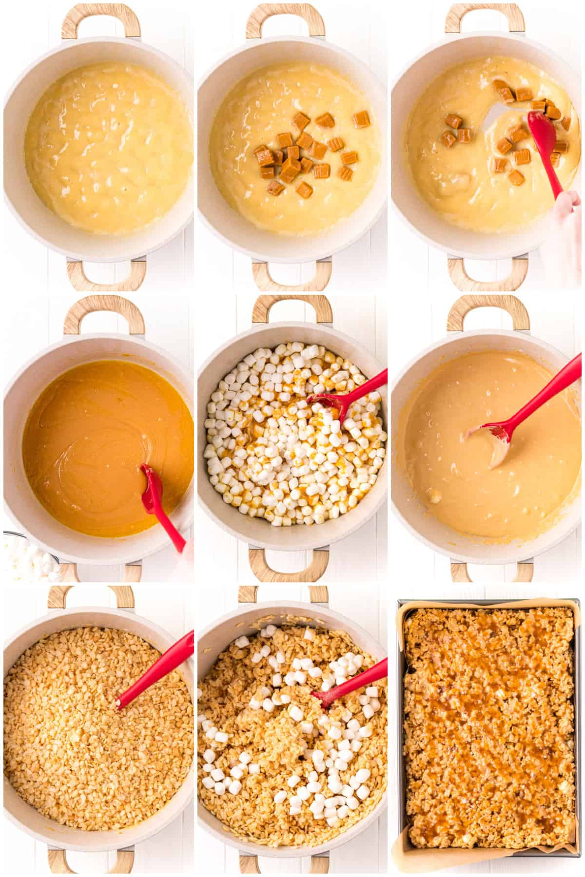 Step by step photos on how to make Salted Caramel Rice Krispie Treats