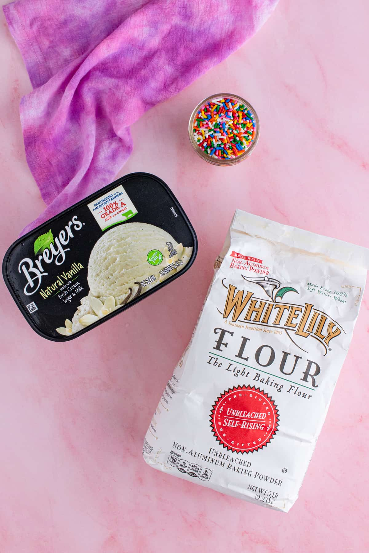Ingredients needed to make Ice Cream Bread