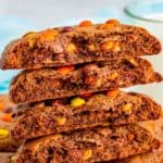 Stacked Reese's Cookie Wraps showing inside Pinterest image