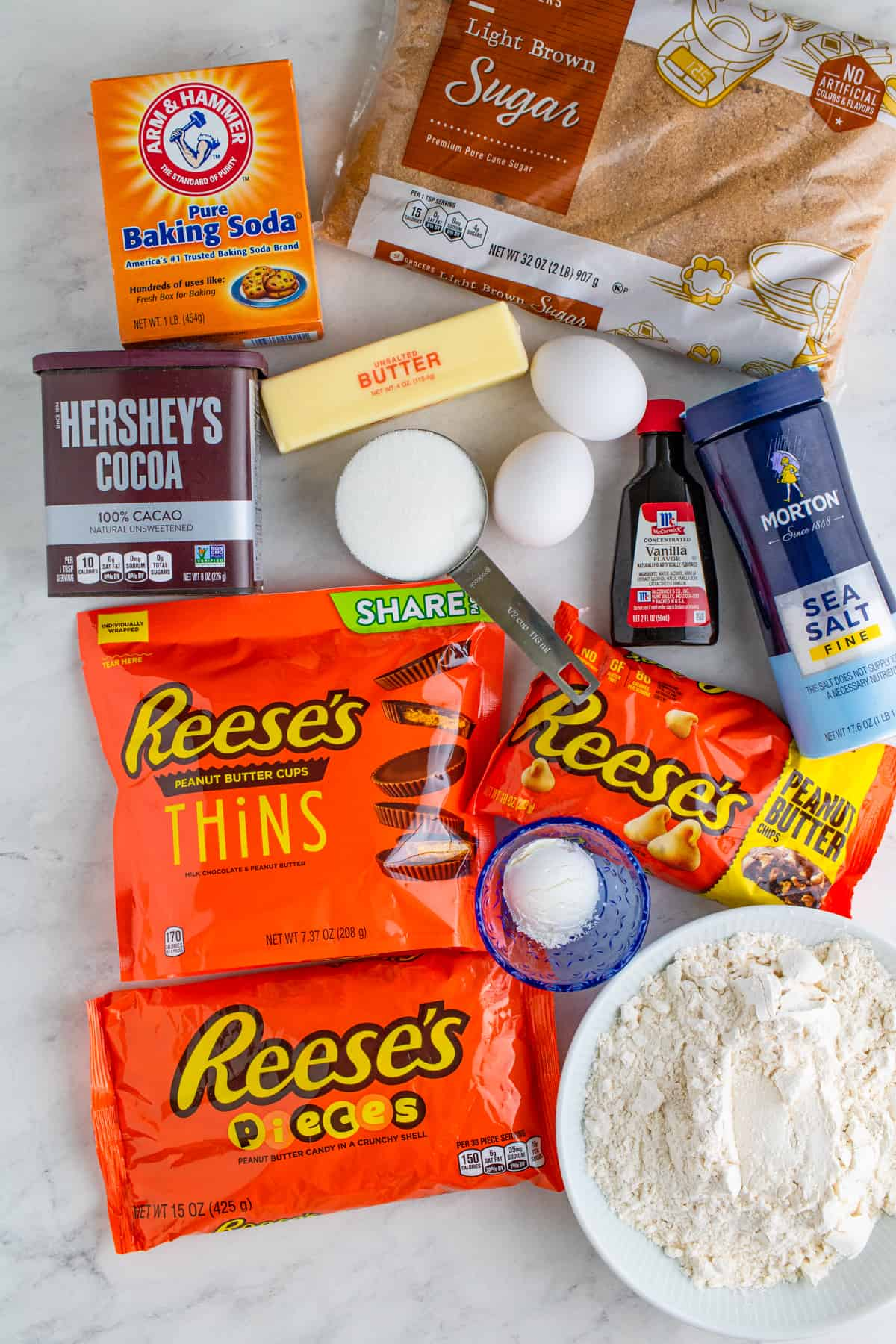 Ingredients needed to make a Reese's Cookie Wrap