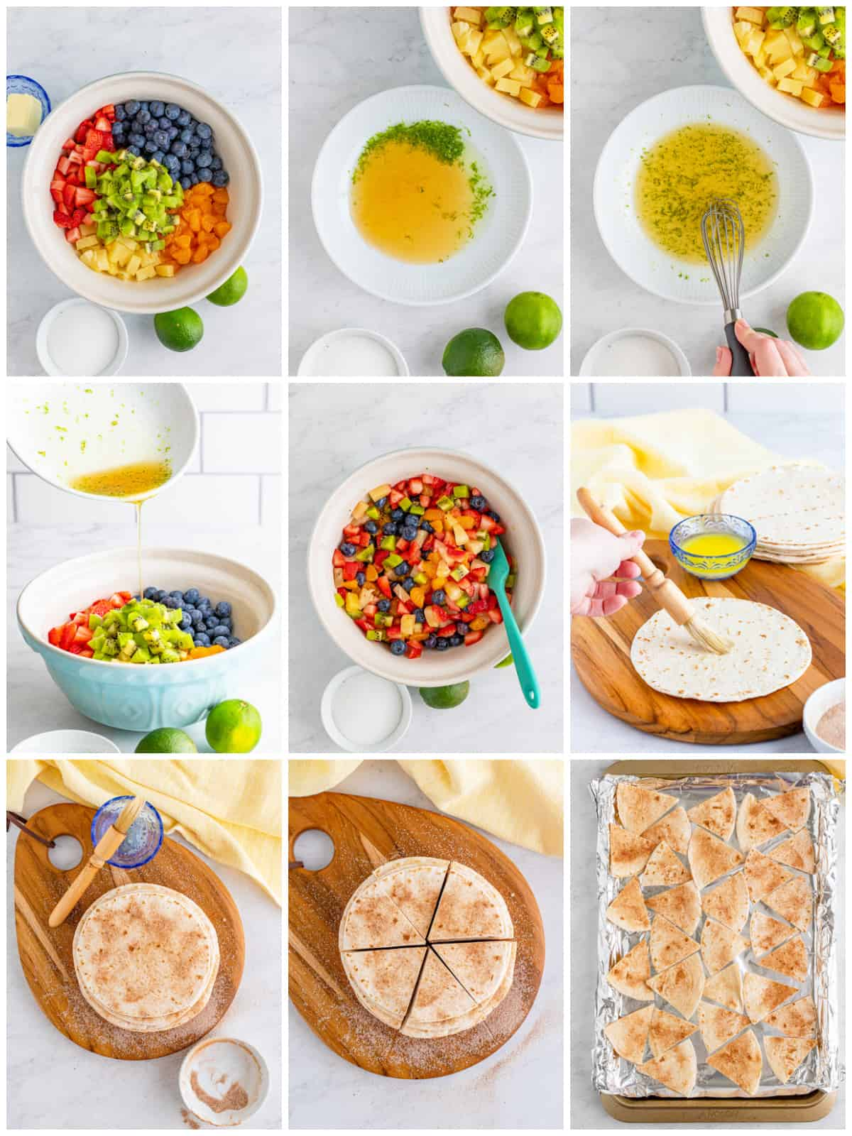 Step by step photos on how to make Fruit Salsa