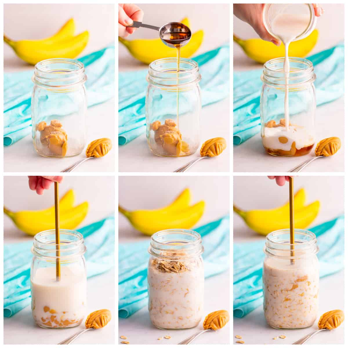 Step by step photos on how to make Peanut Butter Overnight Oats