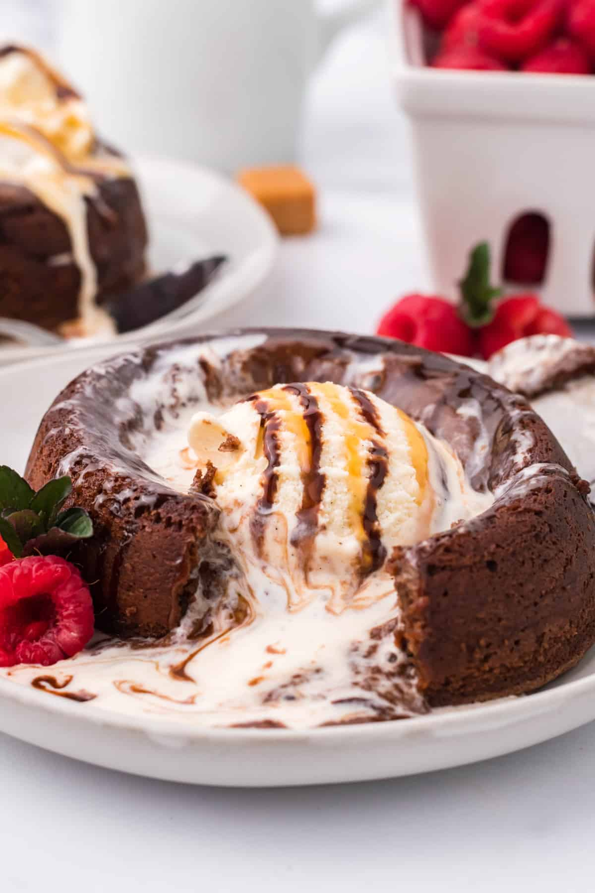 Lava Cake cut into on white plate