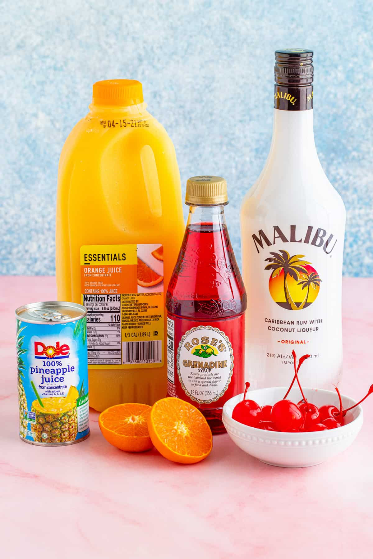 Ingredients needed to make a Malibu Sunset