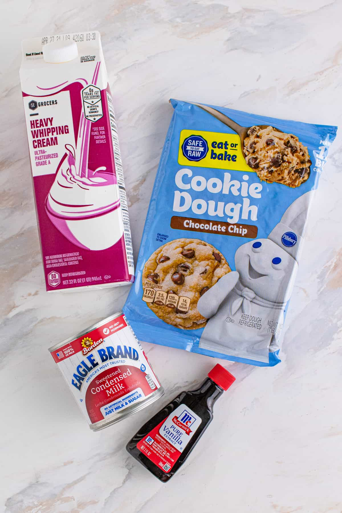 Ingredients needed to make Chocolate Chip Cookie Dough Ice Cream