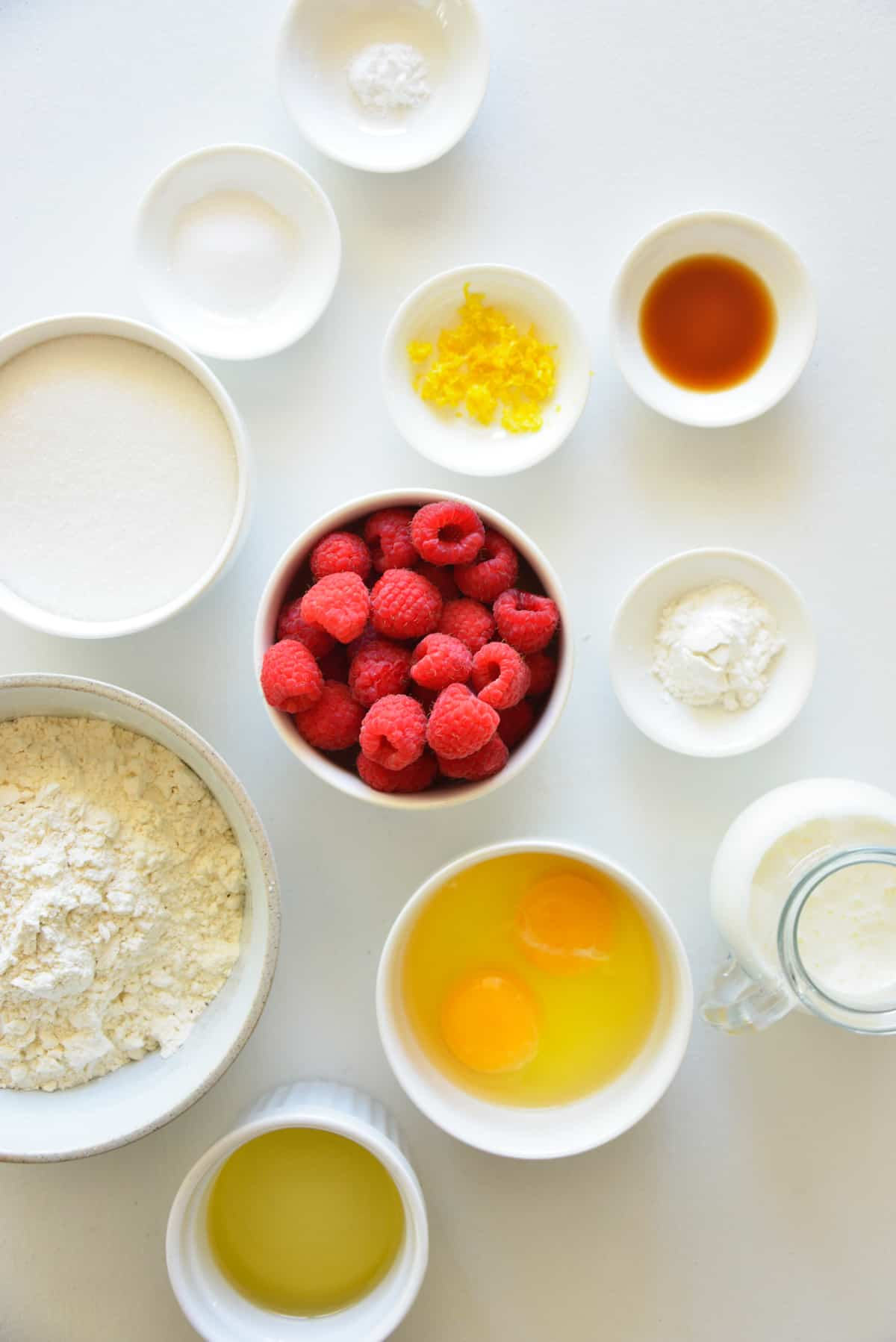 Ingredients needed to make Raspberry Muffins