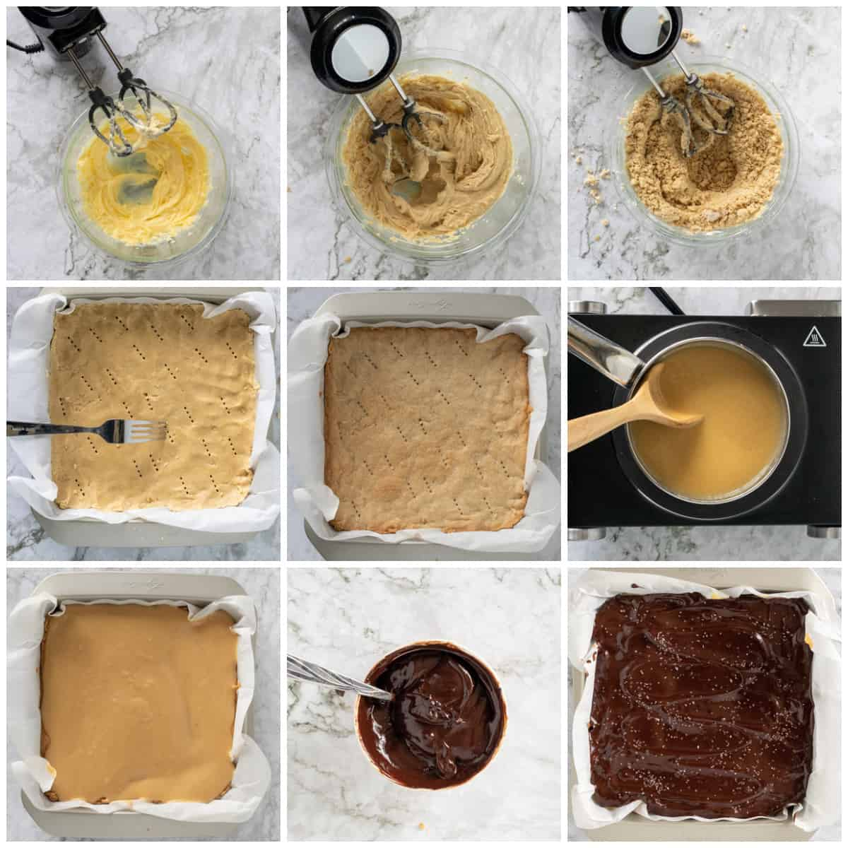 Step by step photos on how to make Millionaire Shortbread Bars