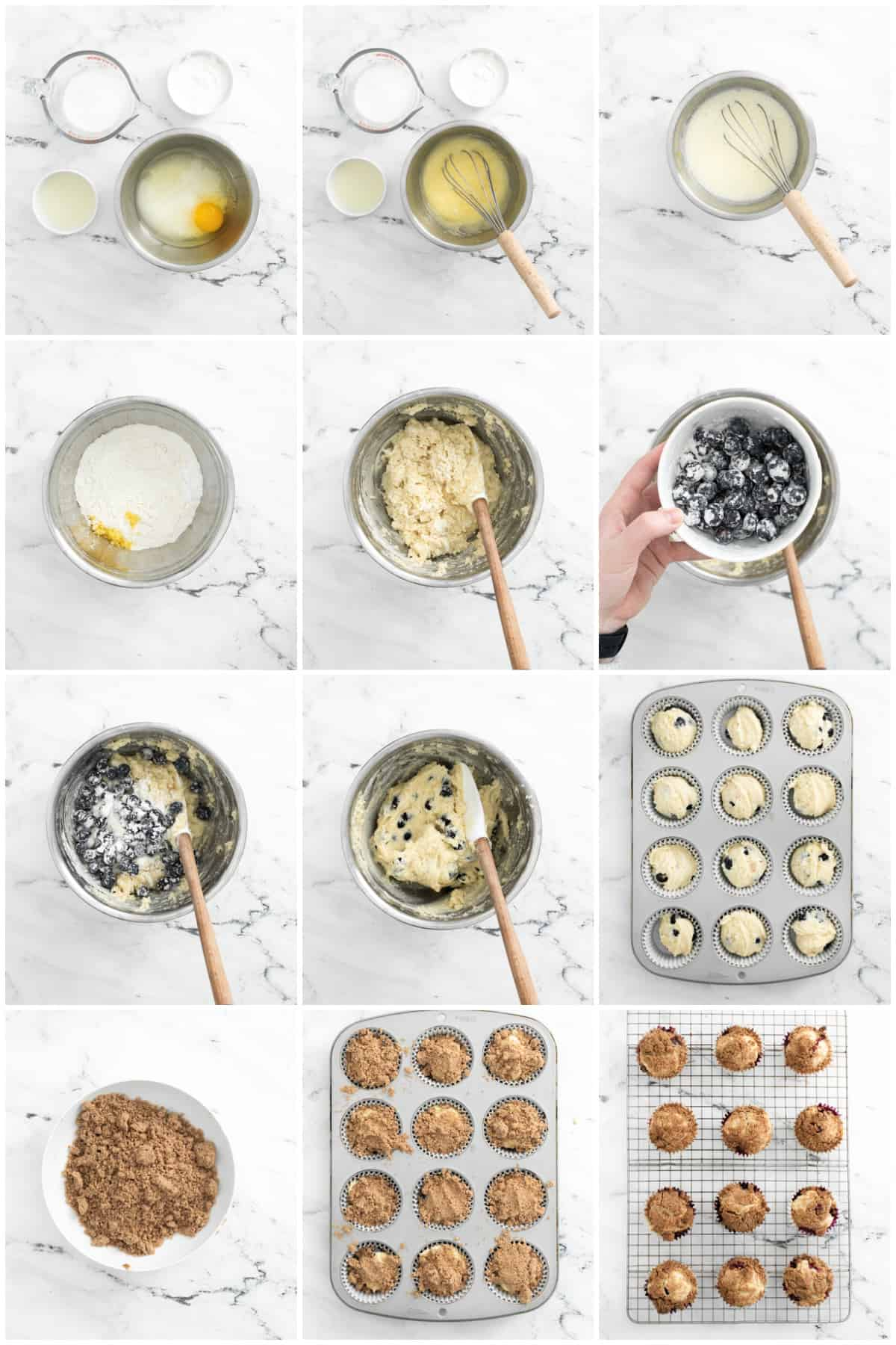 Step by step photos on how to make Lemon Blueberry Muffins