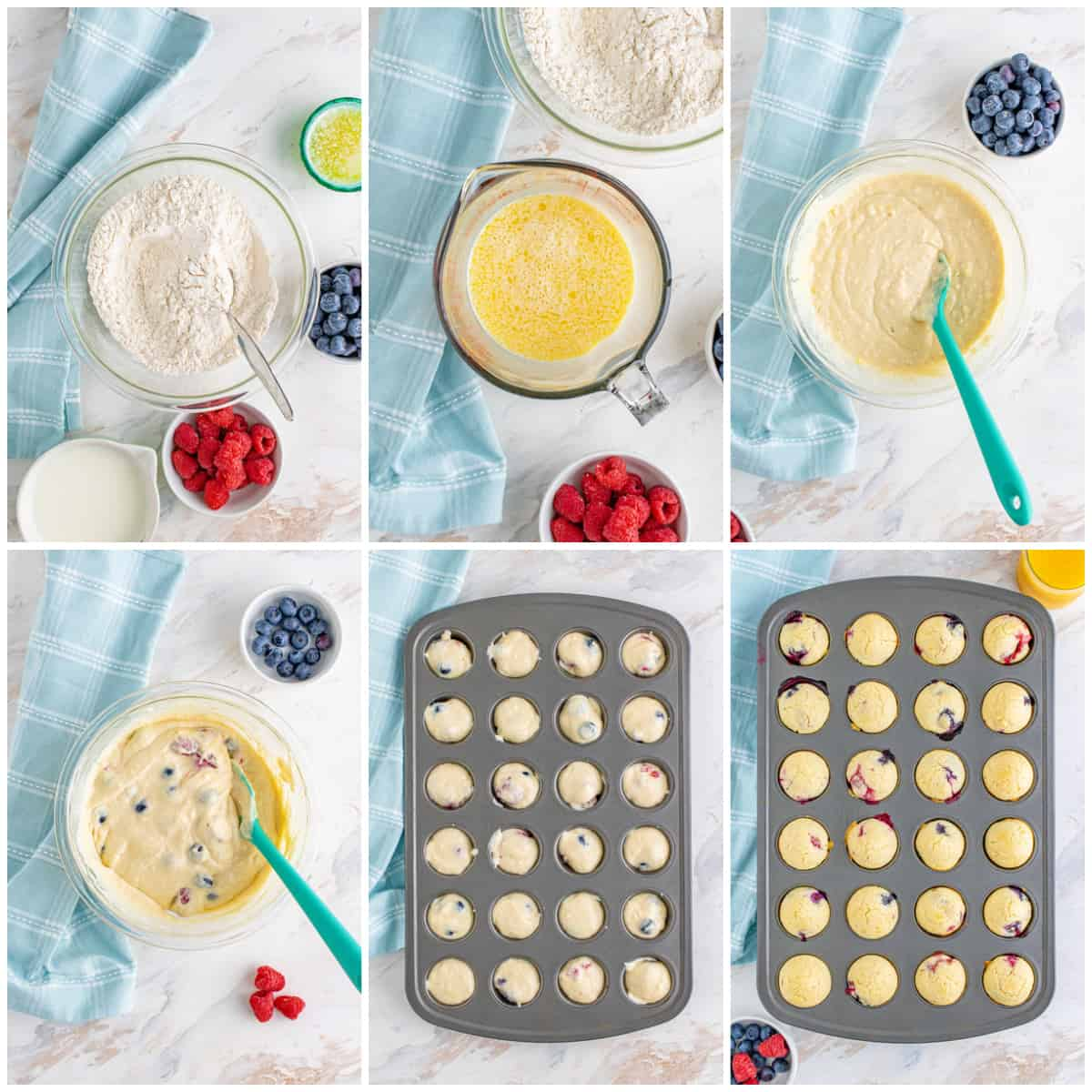 Step by step photos on how to make Berry Pancake Bites