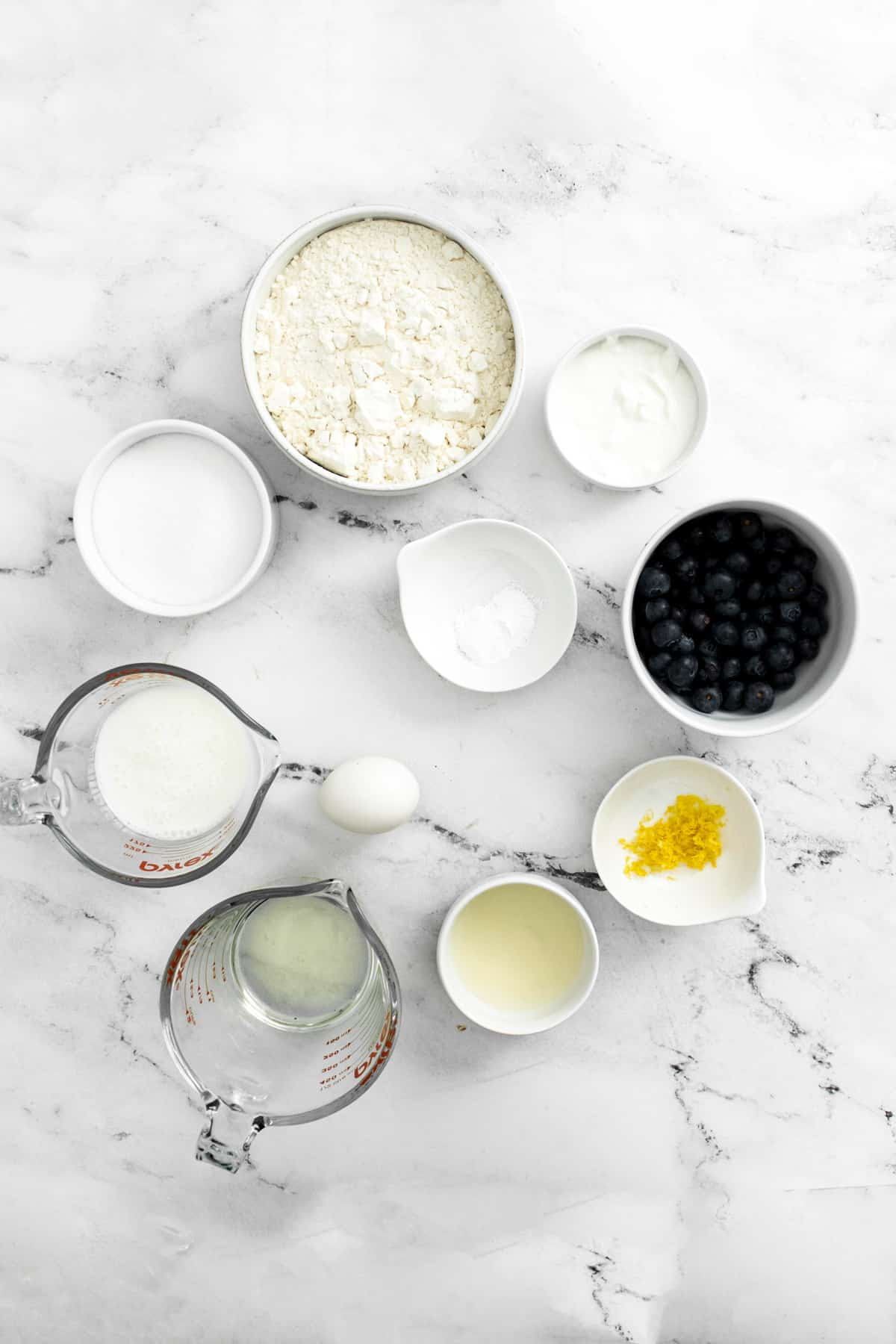 Ingredients needed to make Lemon Blueberry Muffins