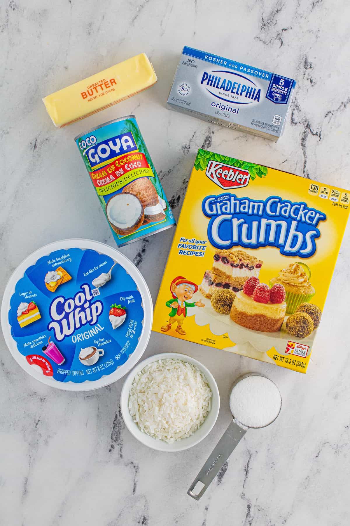 Ingredients needed to make a Coconut Cream Pie