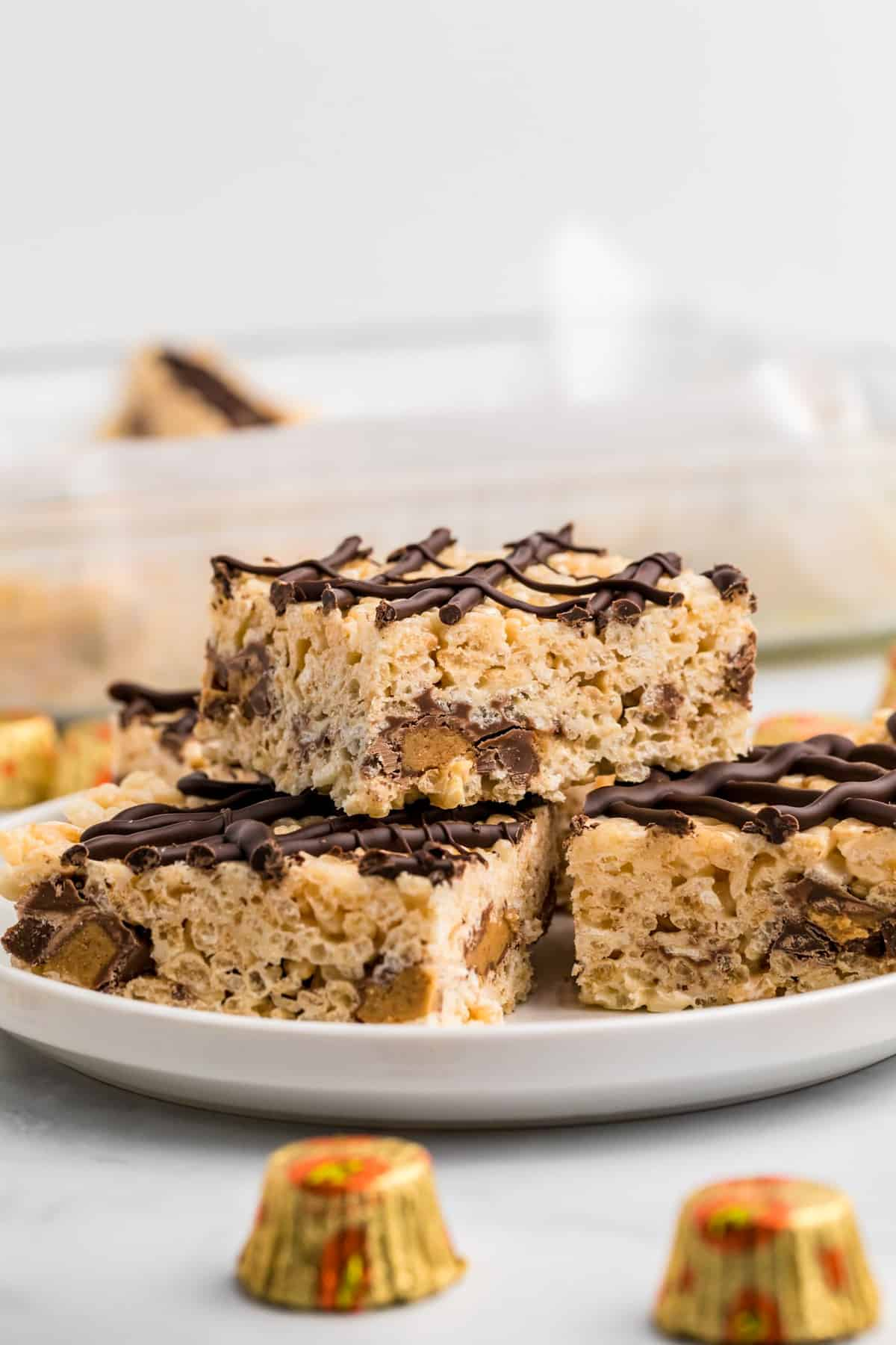 Close up of stacked Reese's Rice Krispie Treats