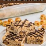 Close up of stacked Rice Krispie Treats Pinterest image