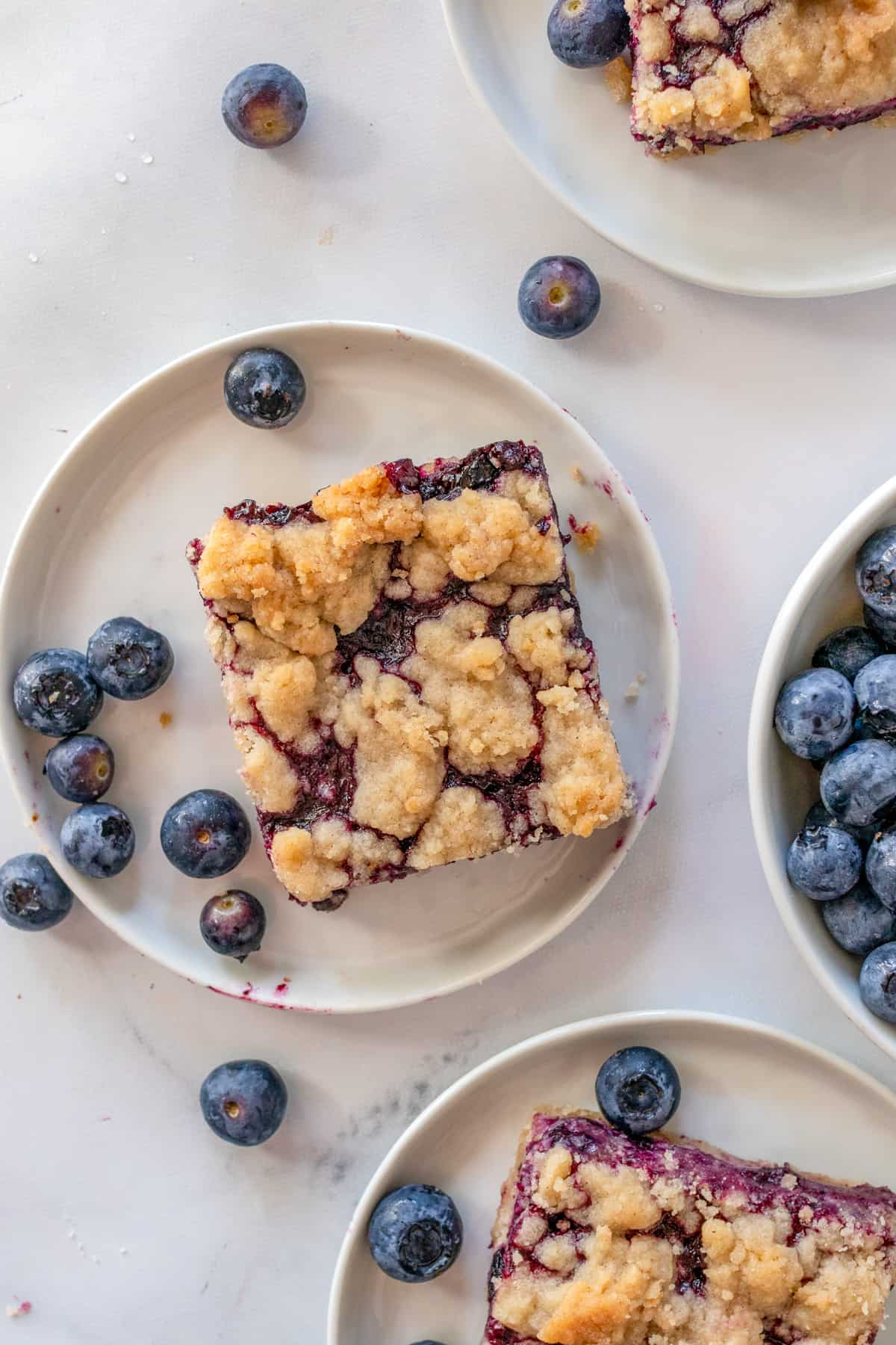 Overhead photo of bars on white plates with blueberries