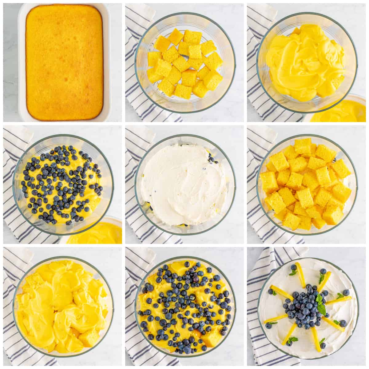 Step by step photos on how to assemble Lemon Blueberry Trifle Recipe