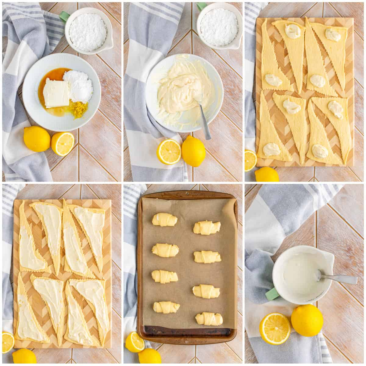 Step by step photos on how to make Cheesecake Crescent Rolls
