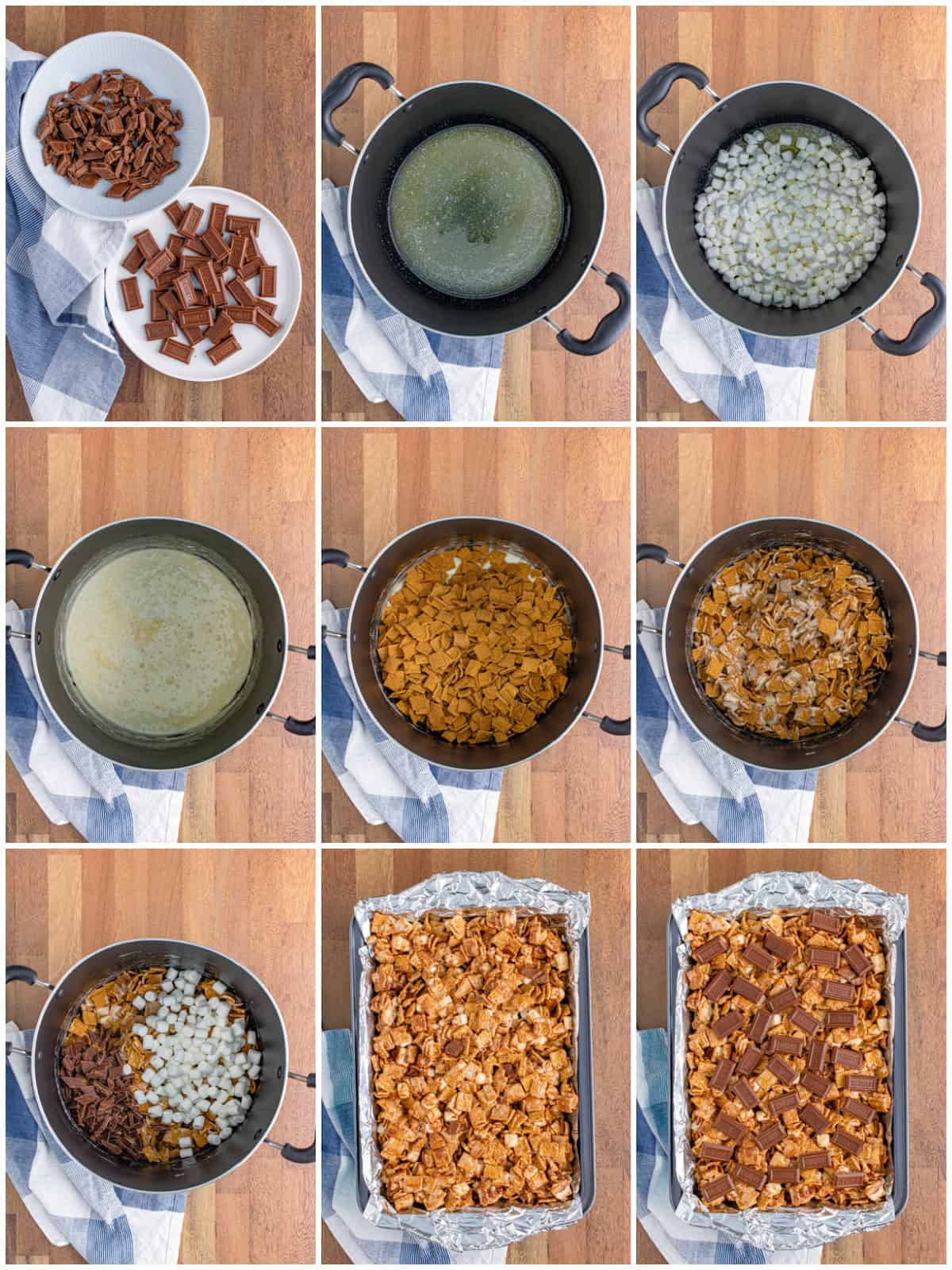 Step by step photos on how to make S'mores Bars