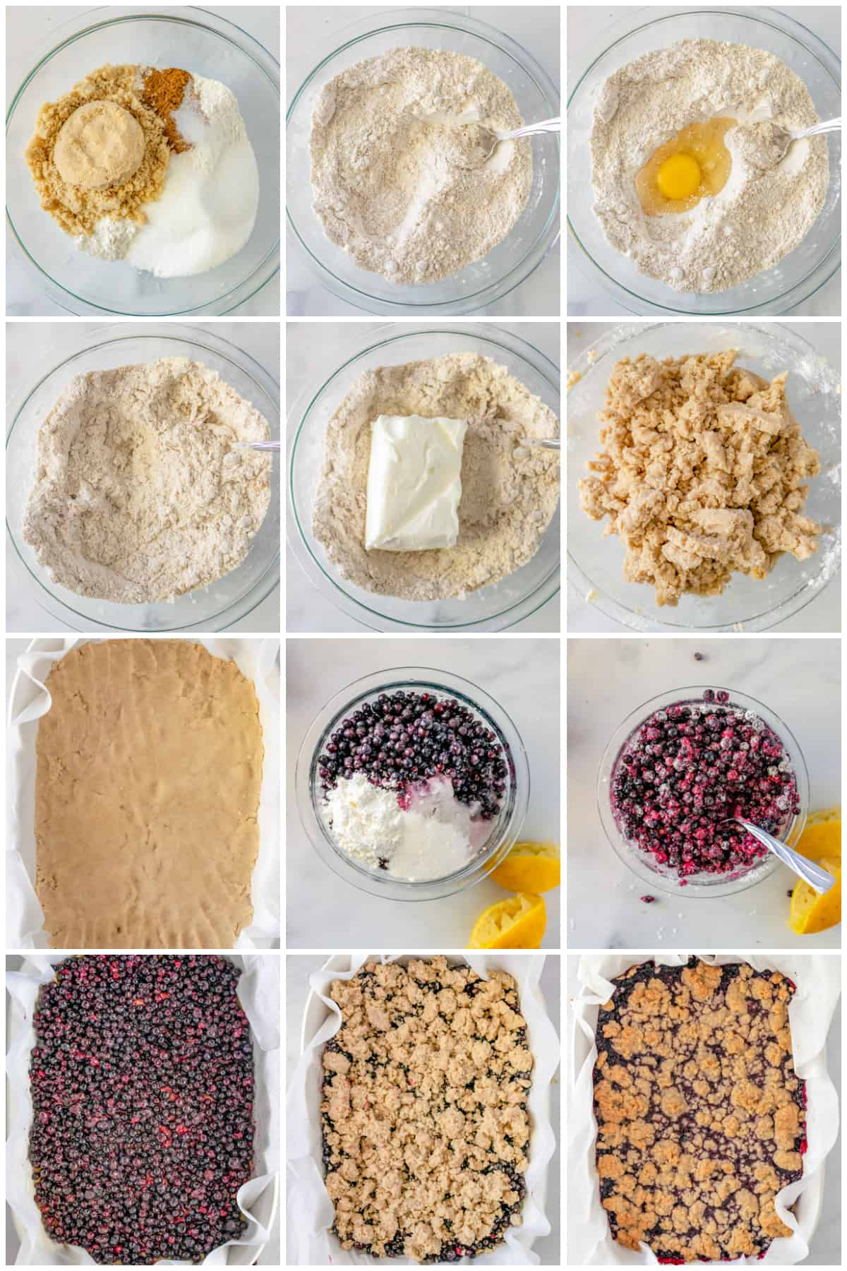 Step by step photos on how to make Blueberry Bars