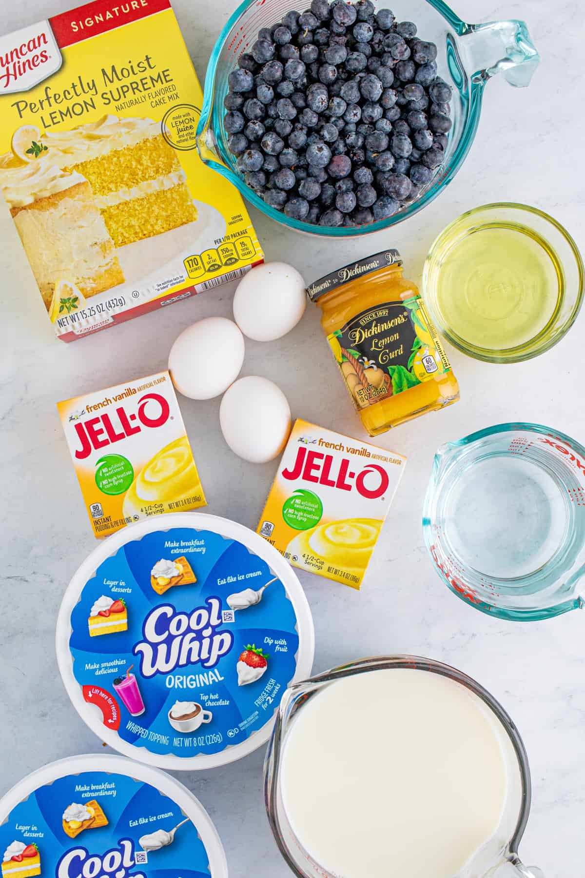 Ingredients needed to make a Lemon Blueberry Trifle