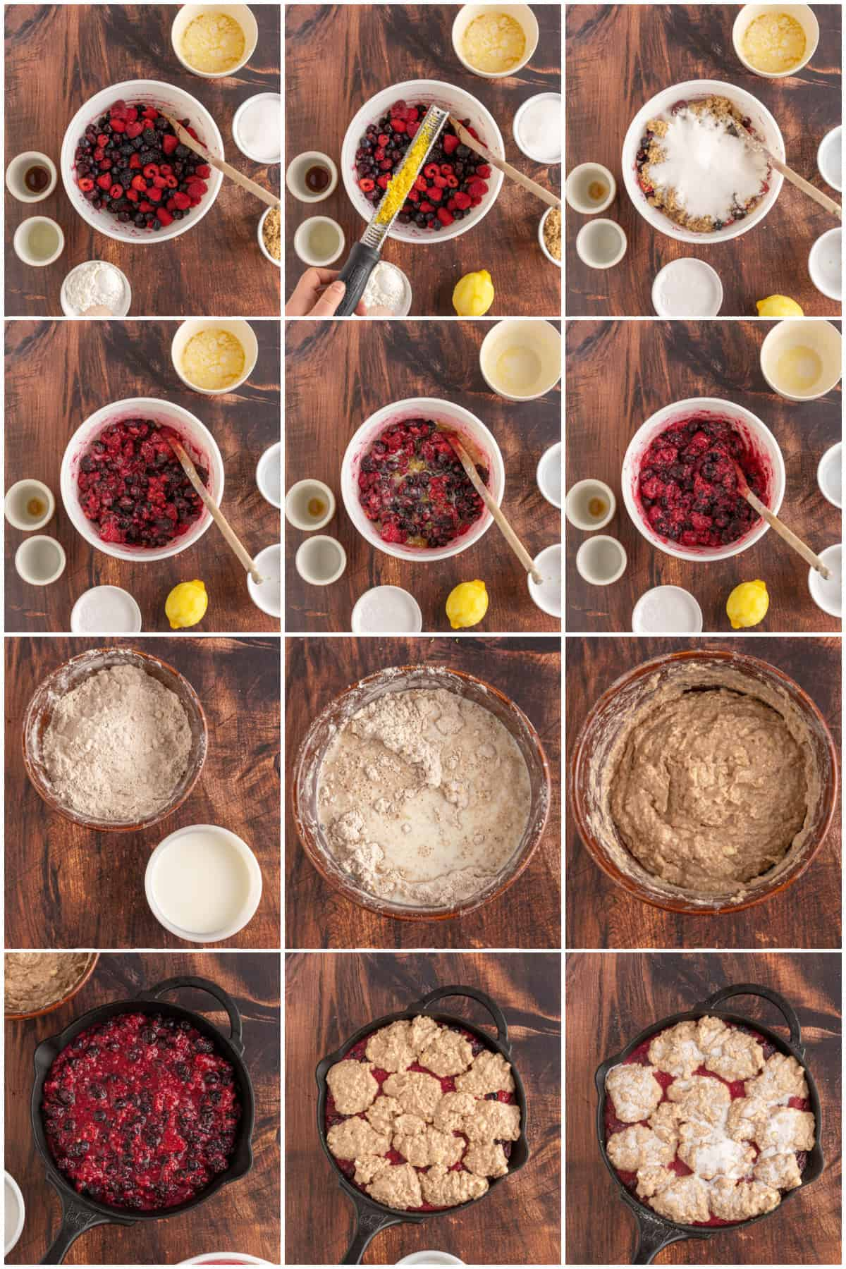 Step by step photos on how to make Berry Cobbler