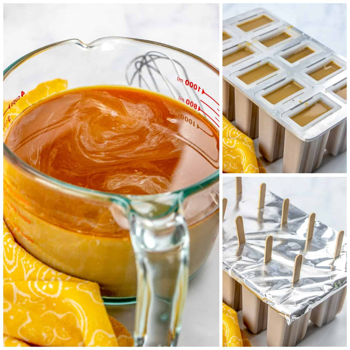 Step by step photos on how to make Coffee Popsicles