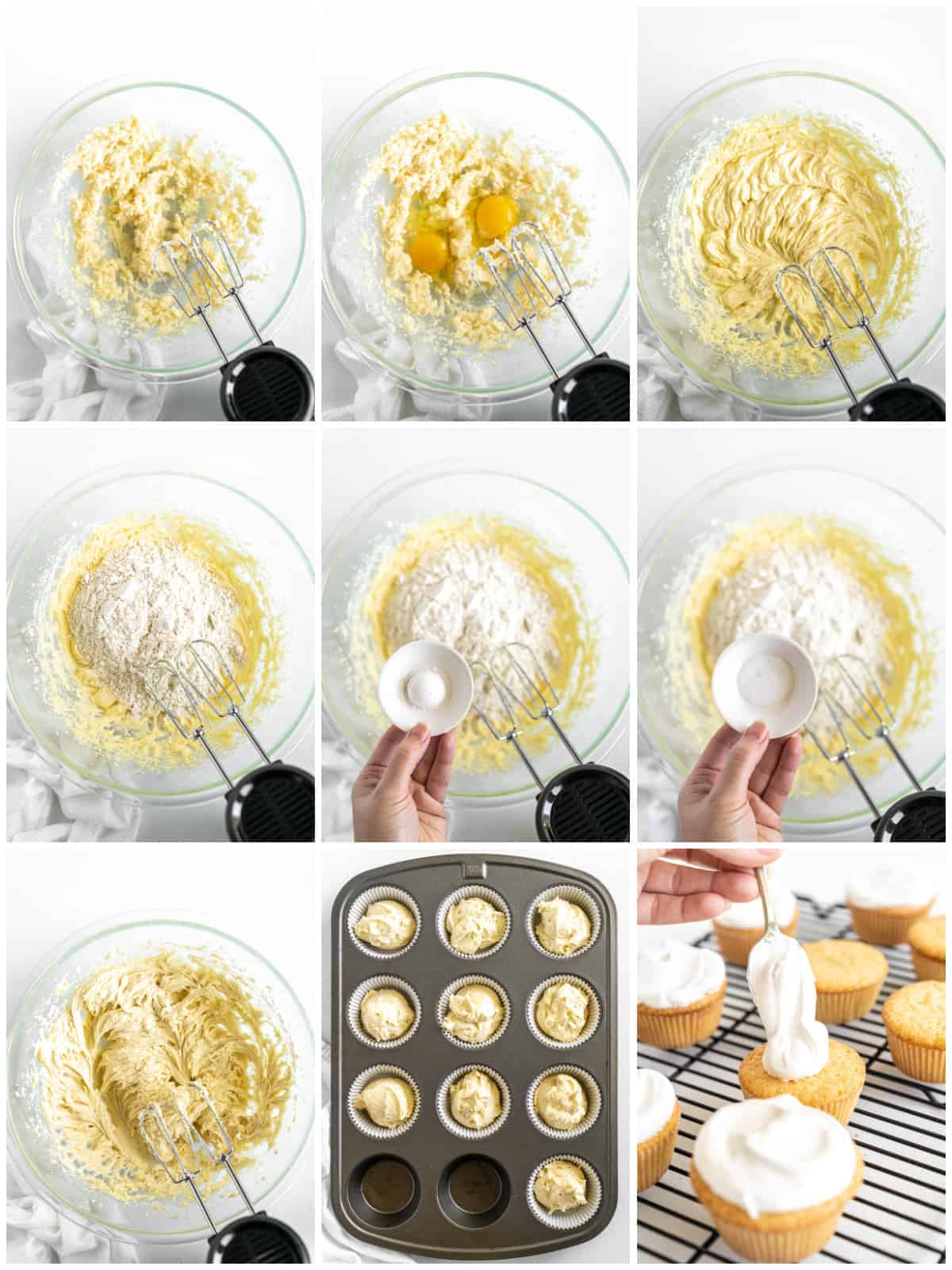 Step by step photos on how to make Pound Cake Cupcakes