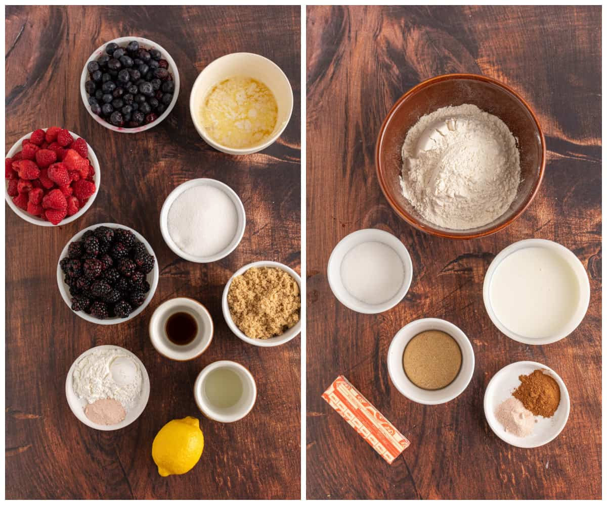 Ingredients needed to make Mixed Berry Cobbler