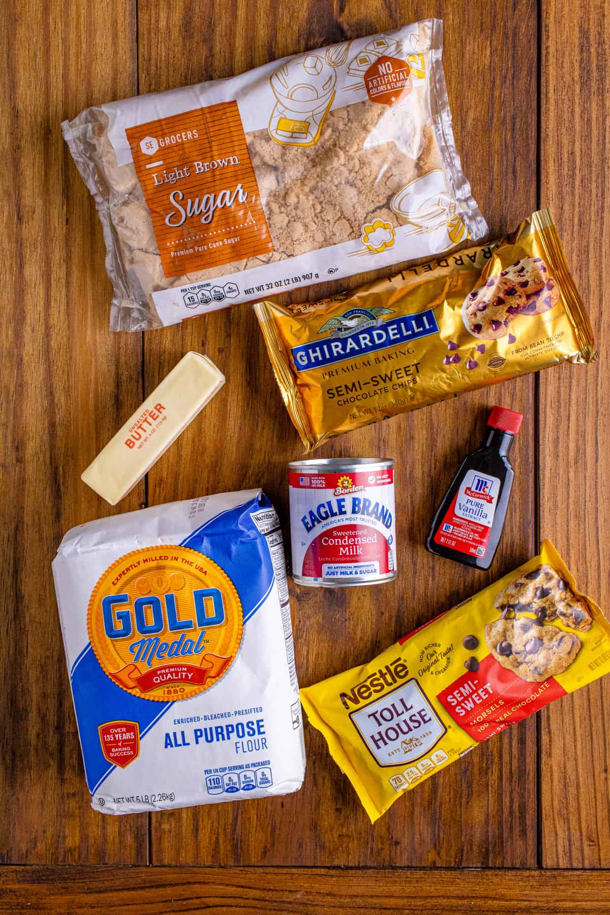 Ingredients needed to make Cookie Dough Bars