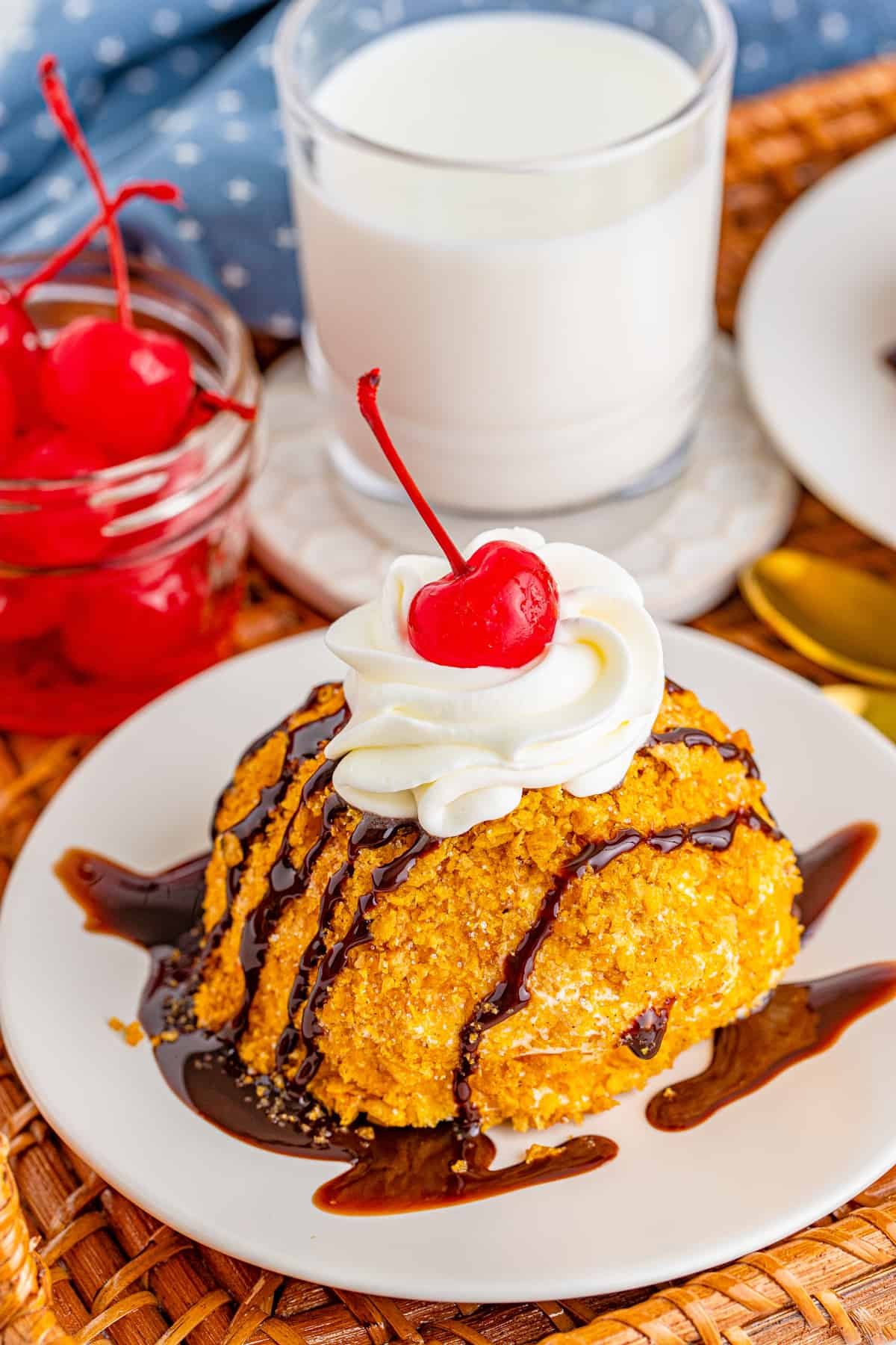 Overhead angle of finished Fried Ice Cream with toppings