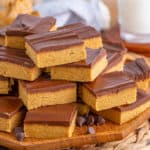 Square image of bars stacked on wooden plate