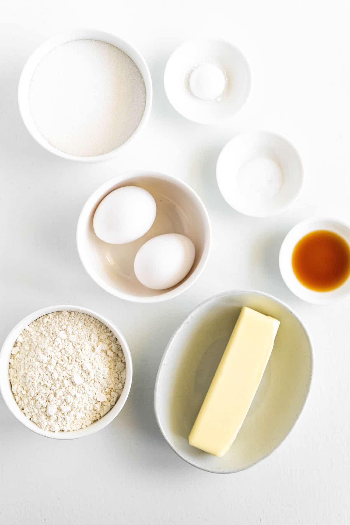 Ingredients needed to make Pound Cake Cupcakes